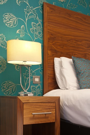 Boleyn Hotel headboard and bedside cabinet