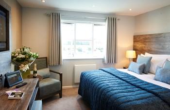 Refurbished hotel bedroom