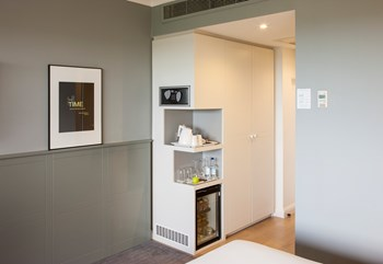 Cabinetry with mini bar installation