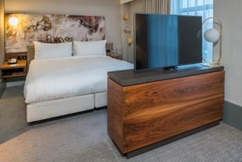 Headboard and veneered TV unit