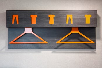 easyHotel brand hanging pegs unit