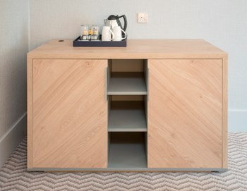 Symmetrical diagonal grained oak minibar and TCMF unit