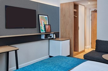 Executive room hotel furniture, wardrobe, luggage rack and minibar unit