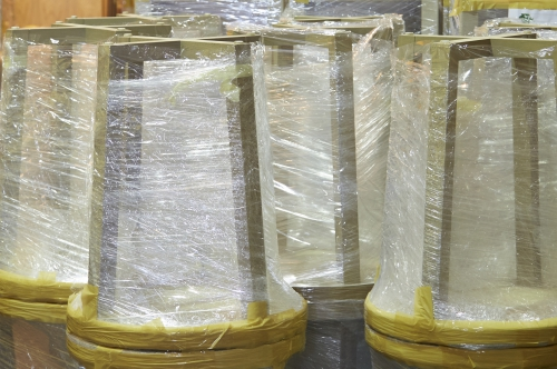 Tables packaged and ready for delivery