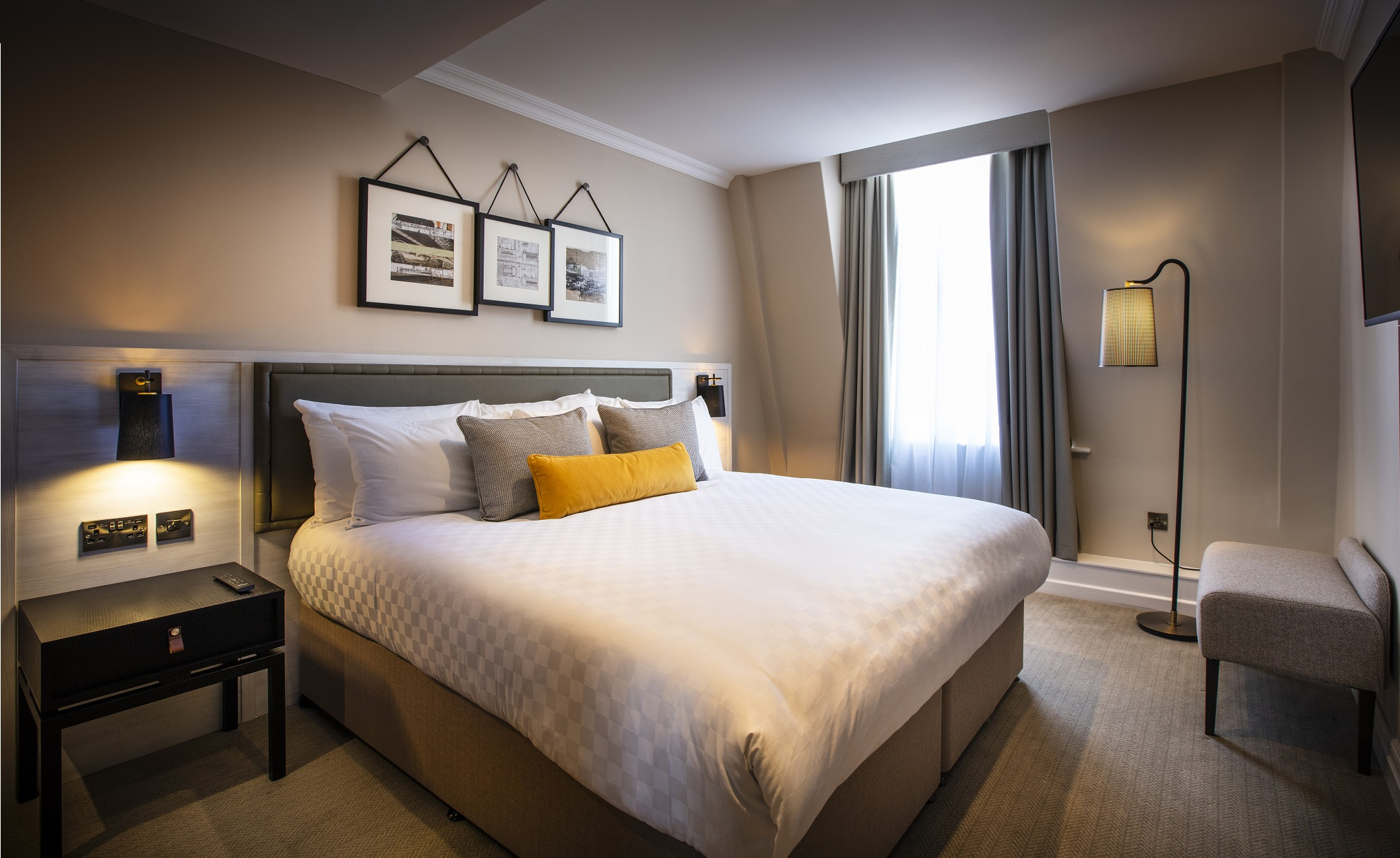 Guestroom at The Grosvenor - double bed, headboard, bedsides and more