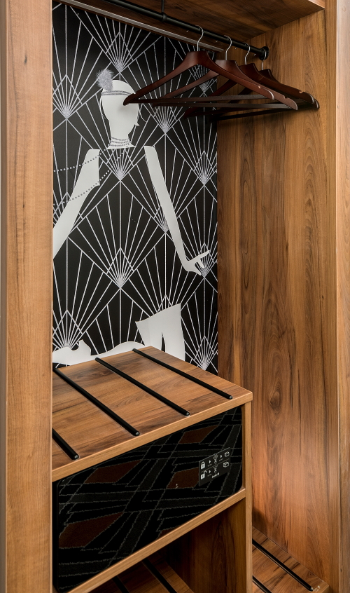 Art-deco wardrobe, with luggage rack and safe and flapper girl image