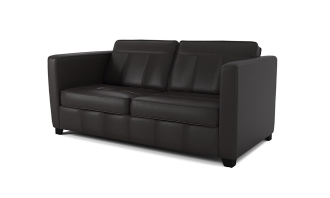 Greenwich 3 seater plain back - black
