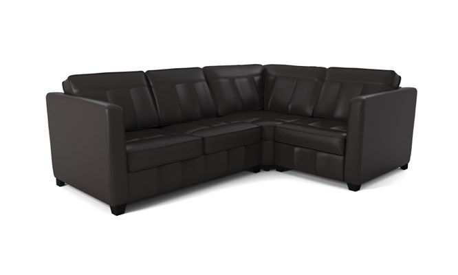 Greenwich corner sofa plain back - black