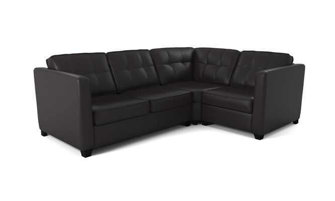 Greenwich corner sofa button back - black