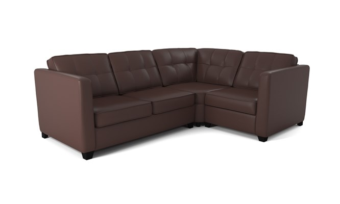 Greenwich corner sofa button back - mahogany