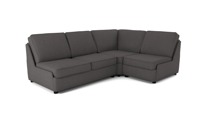 Rockmere corner sofa plain back - charcoal