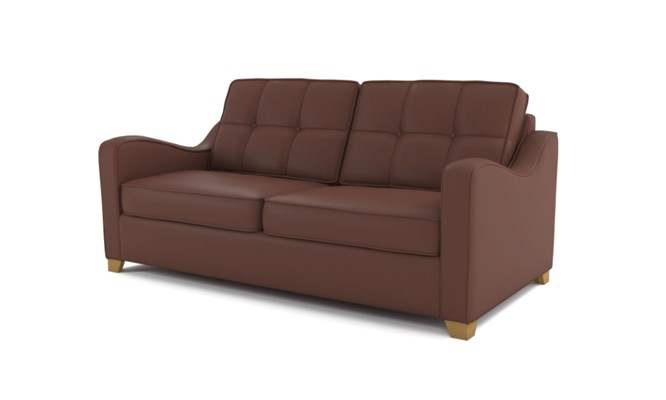 Wingfield 3 seater button back - brown