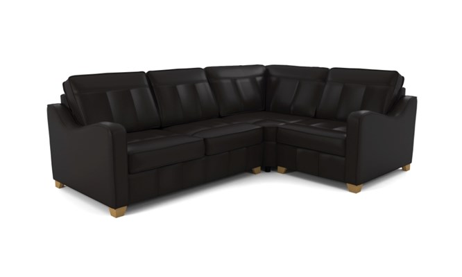 Wingfield corner sofa plain back - black