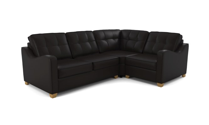 Wingfield corner sofa button back - black