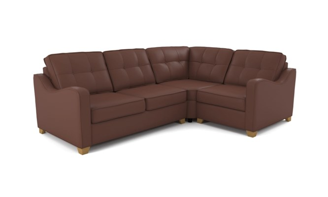 Wingfield corner sofa button back - brown