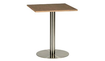Table F - round brushed steel base