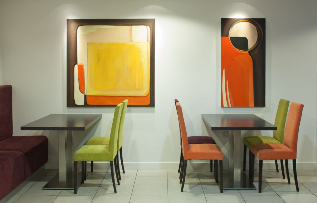 Holiday Inn Express dining chairs and tables